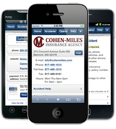 Mobile insurance website for Cohen Miles Insurance Agency at m.cohenmiles.com